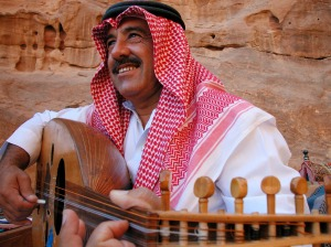 Playing oud in Petra.