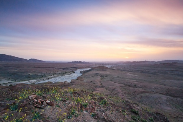 The Feynan Natural Reserve at sunset.