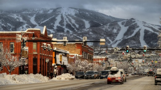 Steamboat mountain trails from town.