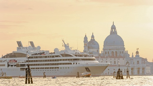 Ponant ship Le Lyrial sails into Venice.