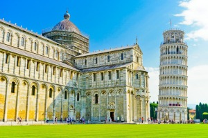 Pisa Cathedral complex in the Piazza del Duomo and the Leaning Tower.