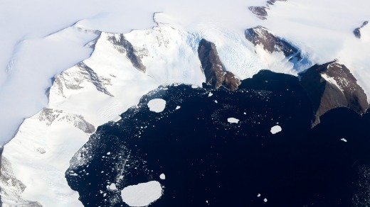 View of Antarctica from above.