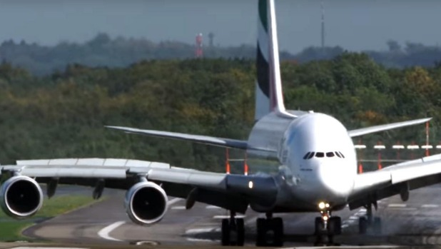 Emirates A380 crosswinds landing video: How much runway does