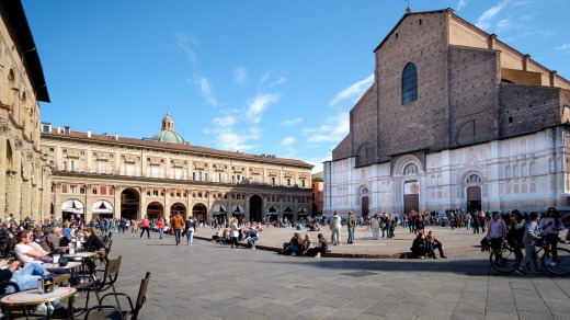 Bologna's picturesque town square.