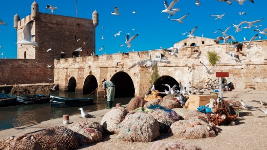 Seagulls and traditional fishing boats and equipment make Essaouira a perfect movie location.