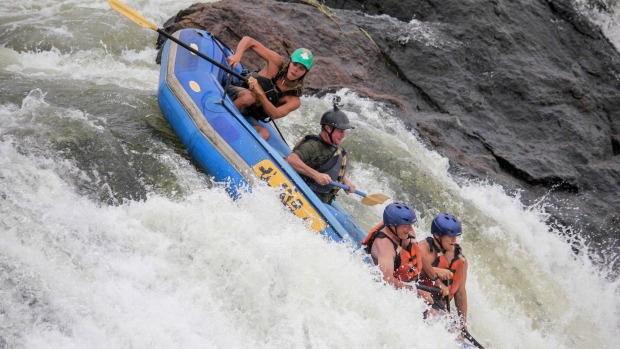 Down the face of a rapid on the White Nile.