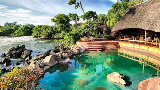The upscale Wildwaters Lodge has a swimming pool and gourmet restaurant.