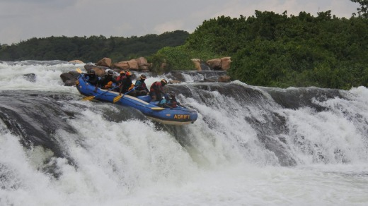 The thunderous rapids of the White Nile.