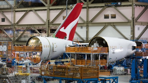 A Qantas Dreamliner, which operates its Perth-London service, under construction in Boeing's factory in Seattle.