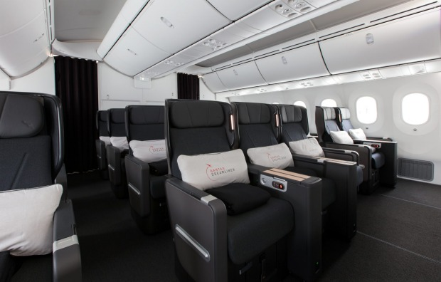The Qantas Dreamliner features a new premium economy seat larger than its previous version seen on the Airbus A380.