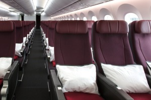 Qantas economy class on a Boeing 787 Dreamliner. The airline has stopped booking passengers into middle seats to assist ...