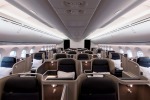 The Qantas Dreamliner 787 business class cabin.