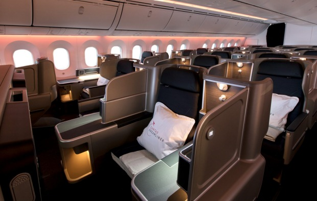 Photos: On board the Qantas Dreamliner. The Qantas 787 Dreamliner business class cabin.