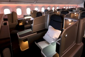 The Qantas 787 Dreamliner business class cabin.