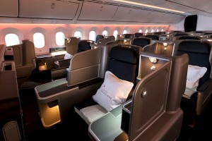 The Qantas 787 Dreamliner business class cabin. Qantas has seen a significant decline in business travellers and expects ...