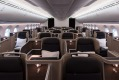 The Qantas Dreamliner business class cabin. The plane will fly 17 hours from Perth to London non-stop.