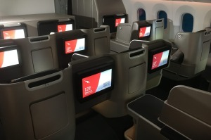 The business class cabin on board the Qantas Dreamliner.