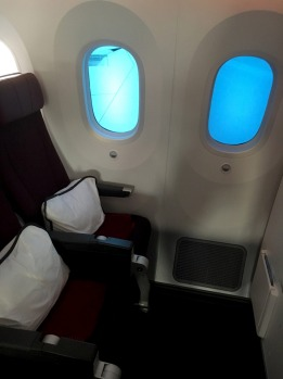 The Dreamliner offers significantly larger windows that other aircraft, with electonic dimmers.