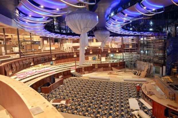 Symphony of the Seas, Royal Caribbean's newest Oasis-class ship, under construction at the STX shipyard in France. The ...