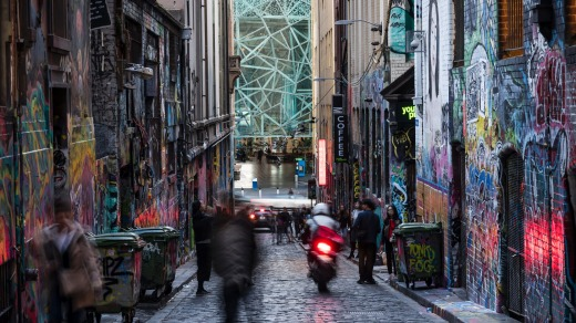 Its iconic street art makes Hosier Lane arguably Melbourne's most stylish laneway.