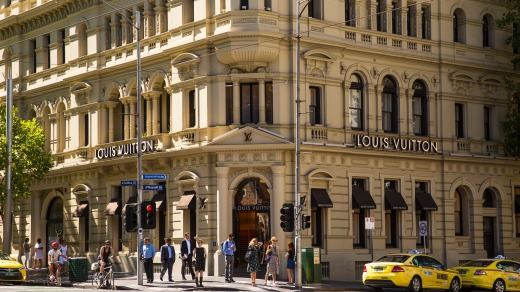 Exterior of Louis Vuitton store on Collins Street.