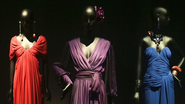 Dresses on display at the Yves Saint Laurent museum in Marrakesh.