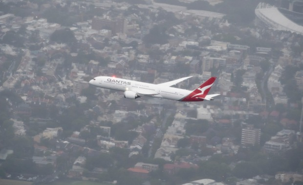 The first Qantas Boeing 787-9 Dreamliner performs a flyover of Sydney during its delivery flight.