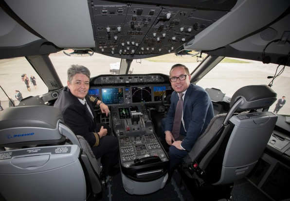 Qantas captain Lisa Norman and CEO Alan Joyce in the cockpit of the 787 Dreamliner during its delivery to the airline at ...