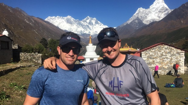 Things went wrong on the Everest base camp trek for former NRL players Danny Buderus and Mark Hughes.