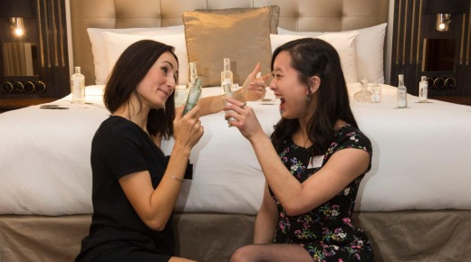 Guests drink the contents of the miniature Scotch bottle and replace them with weak tea.