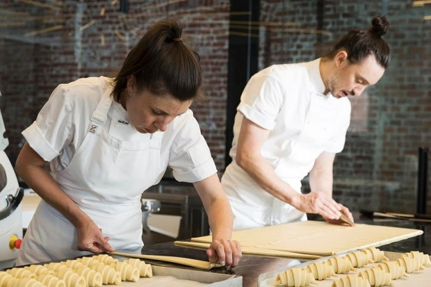 Kate and Cam Reid making croissants at Lune.