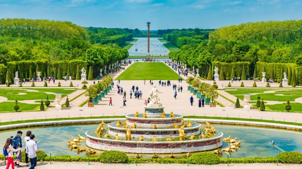 The Latona Fountain in the Garden of Versailles in France.