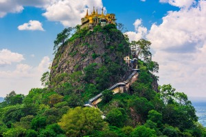 Mount Popa, Myanmar, beckons ... but the hike to the monastery is no easy stroll.