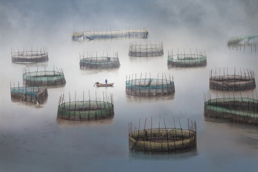 A fisherman rowing out to check on the colourful cages used for crab farming in a fishing village in China.