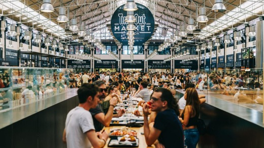 Time Out Market is a food hall located in Mercado da Ribeira at Cais do Sodre in Lisbon.