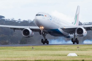 The first SriLankan Airlines flight arrives at Melbourne Airport on Monday.