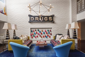 'Drugs' in the lobby of the Parker Palm Springs.