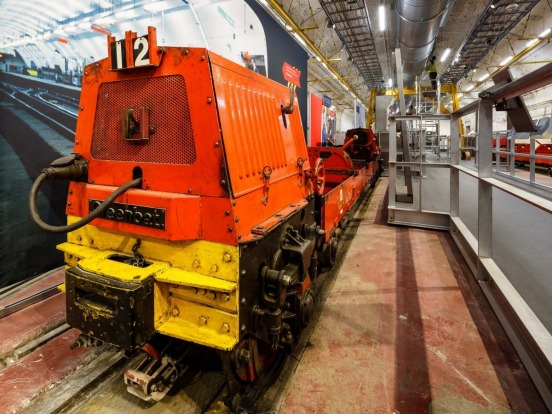 An old train on display at London's Postal Museum.