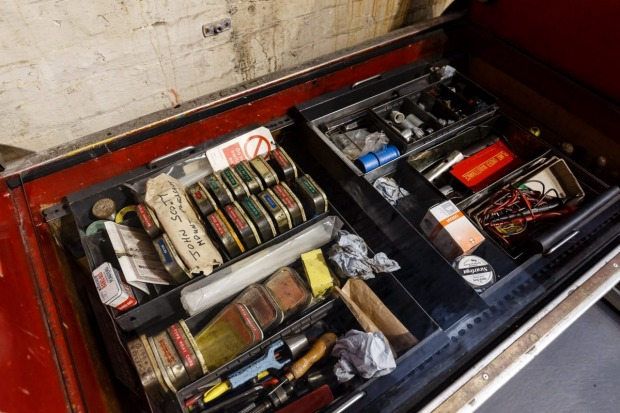 A tool box of a Rail Mail engineer display at London's Postal Museum.