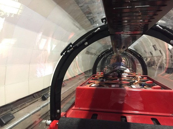 Riding the Rail Mail train at London's Postal Museum.