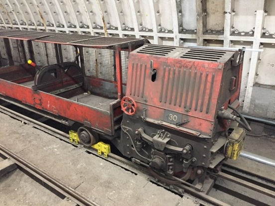 An old train that hasn't been moved from the railway since it closed.
