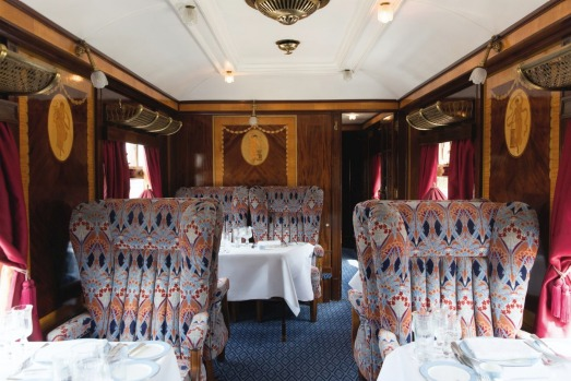 Belmond British Pullman, an 11-car Art Deco steam train with elegant interiors that would have been the benchmark of ...