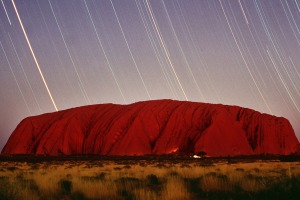 SELECTED FOR WEBSITE ULURU : 990419 : SMH TRAVEL : Pix by QUENTIN JONES :....5 hour time-exposure of Uluru (Ayres Rock)...