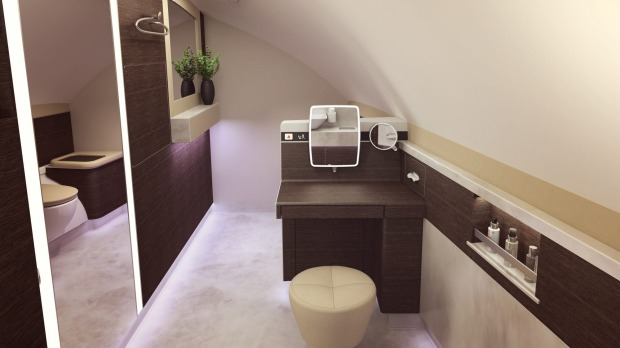 First class will also feature two spacious toilets, including one with a sit-down vanity counter.