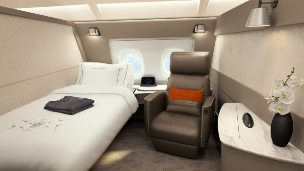 Singapore Airlines' new first class suite for its A380 superjumbos. The suites feature a fully flat bed and a separate ...