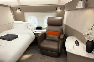 Singapore Airlines new first class suite for its A380 superjumbos.
