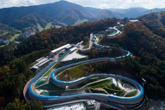 The Alpensia Sliding Center, the venue for luge, bobsleigh and skeleton events at the 2018 PyeongChang Winter Olympic ...