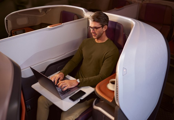 The new business class shell is made of carbon fibre.