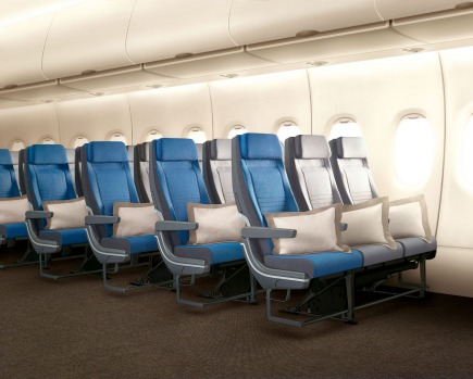 Singapore Airlines' new A380 economy class seats.
