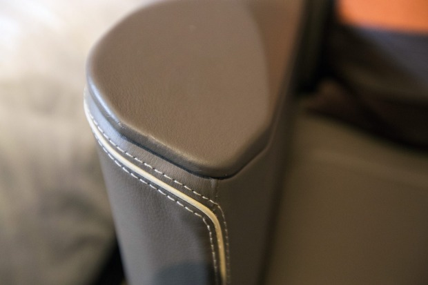 The first class suite is finished in leather.